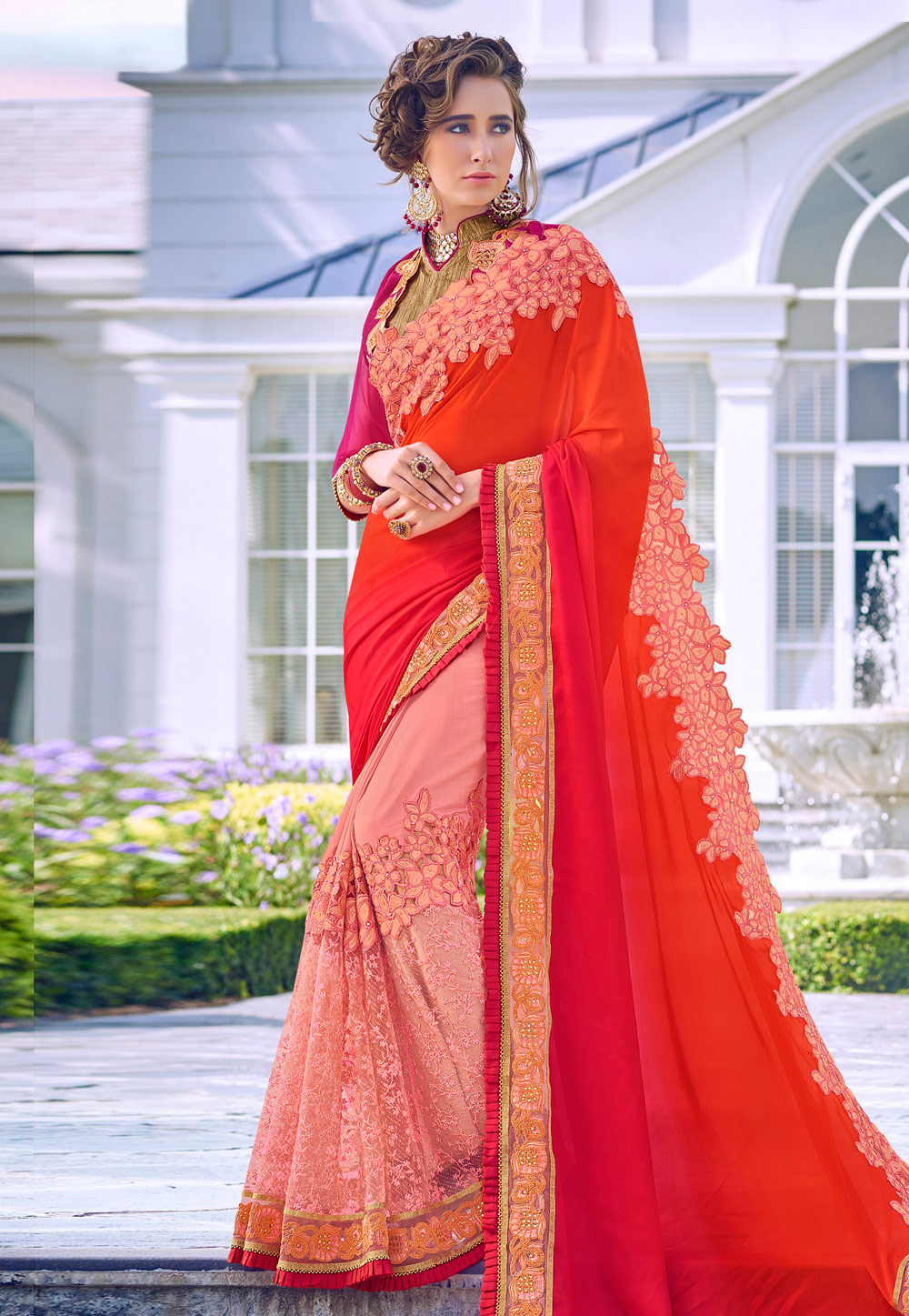 Orange Art Silk Half and Half Saree 191194