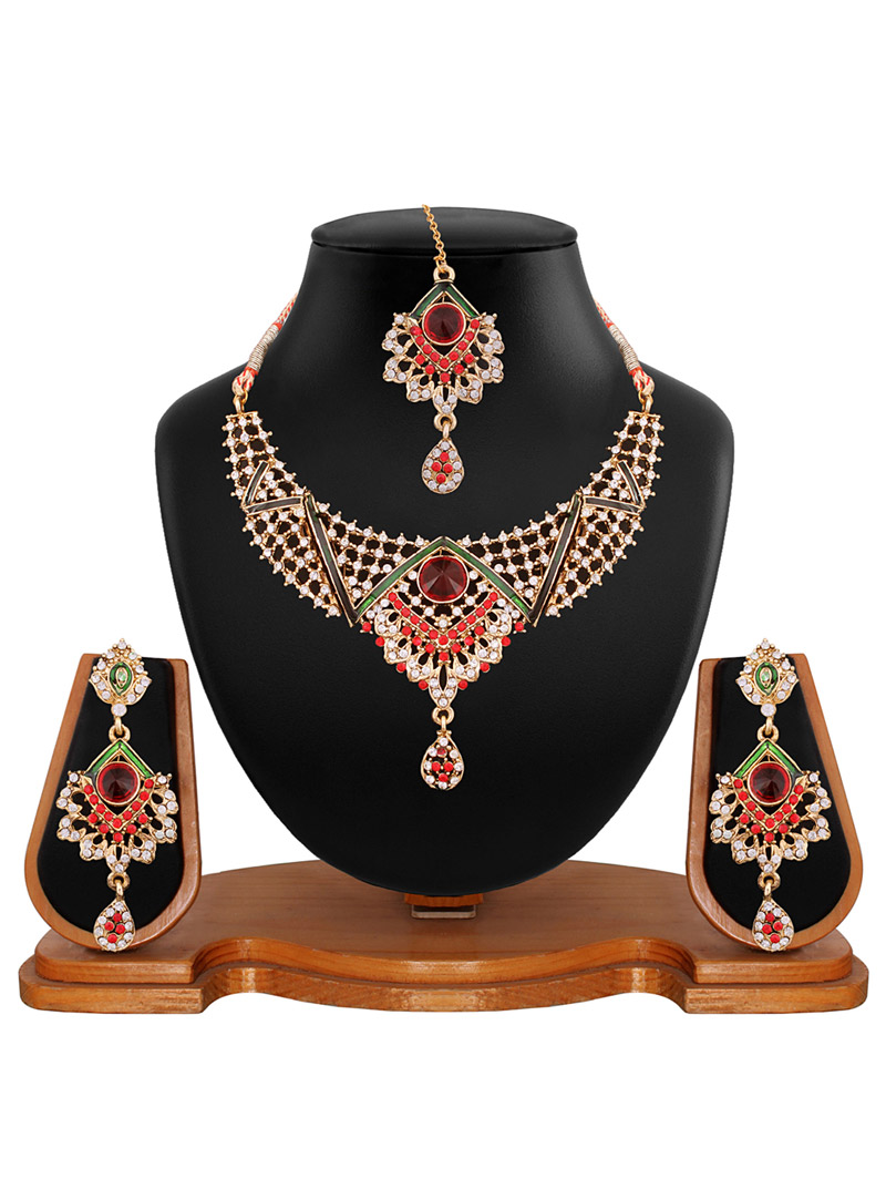 Maroon Alloy Austrian Diamonds Necklace With Earrings and Maang Tikka 56933