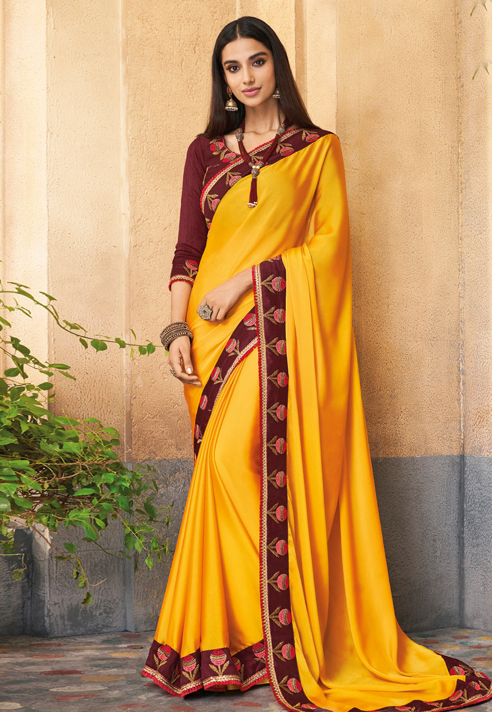 Yellow Silk Festival Wear Saree 191528