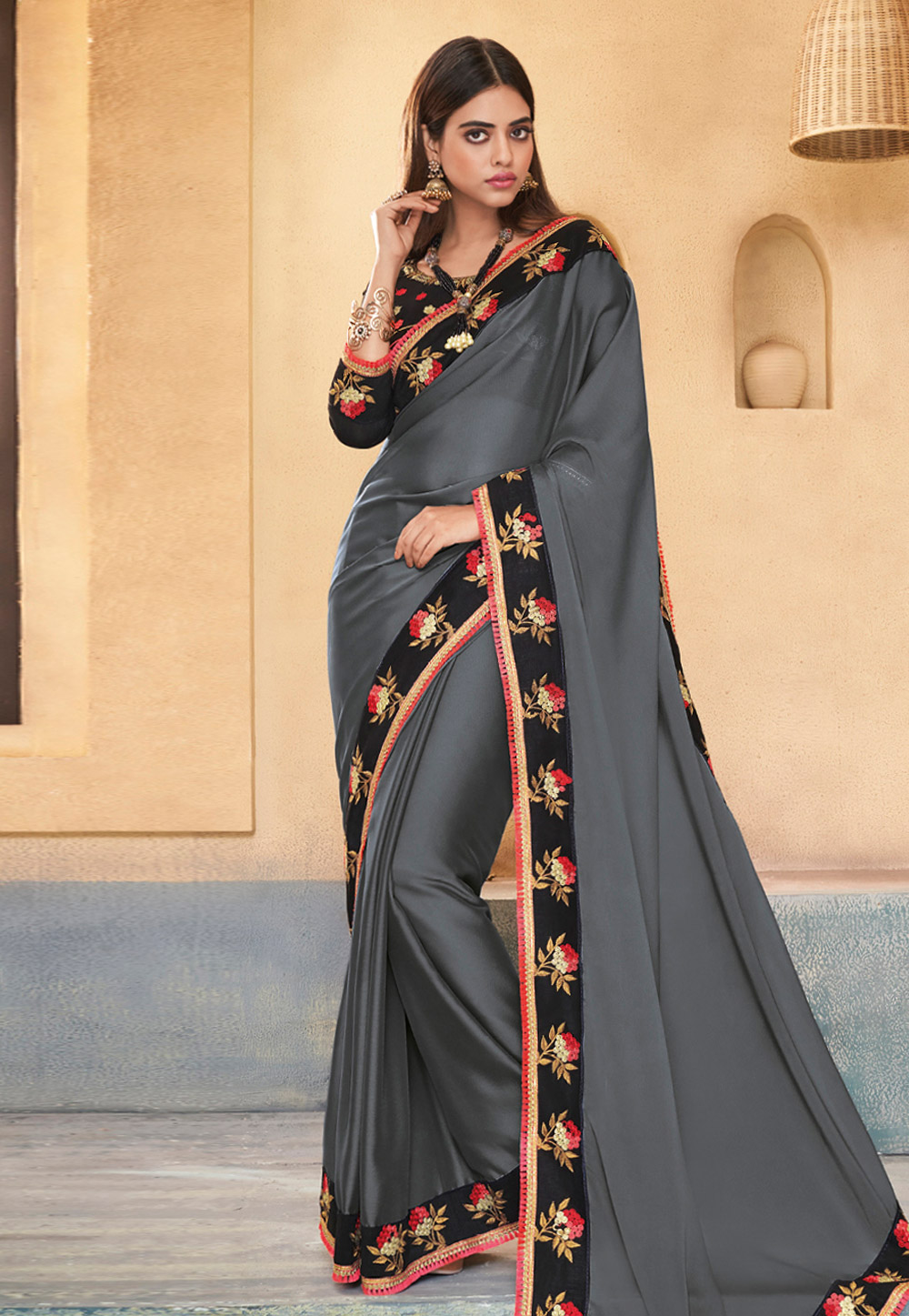 Grey Silk Saree With Blouse 191531