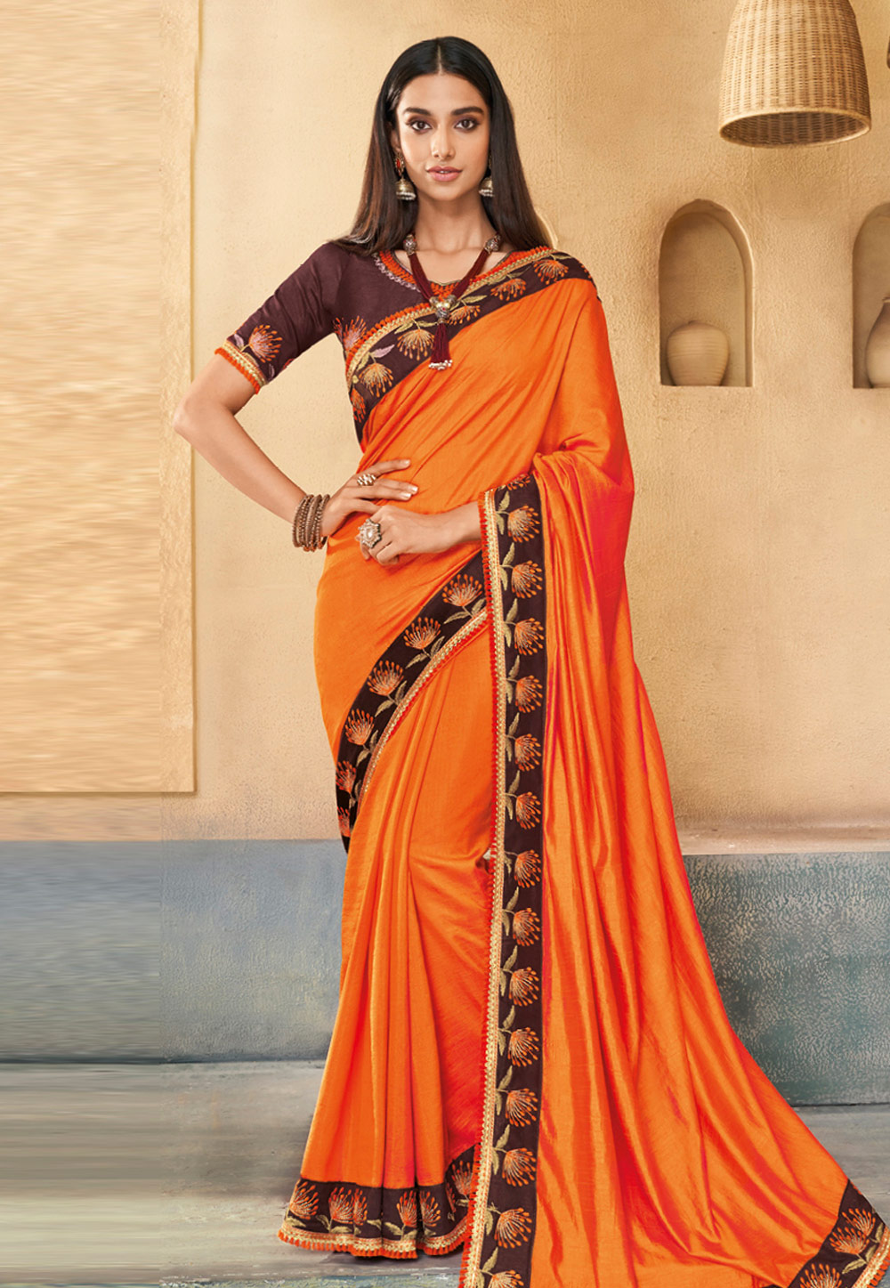 Orange Silk Festival Wear Saree 191538