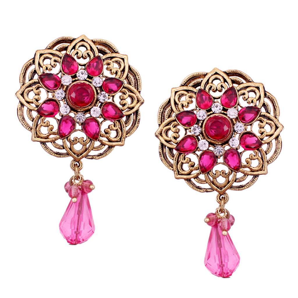 Pink Alloy Austrian Diamonds Earrings 56950