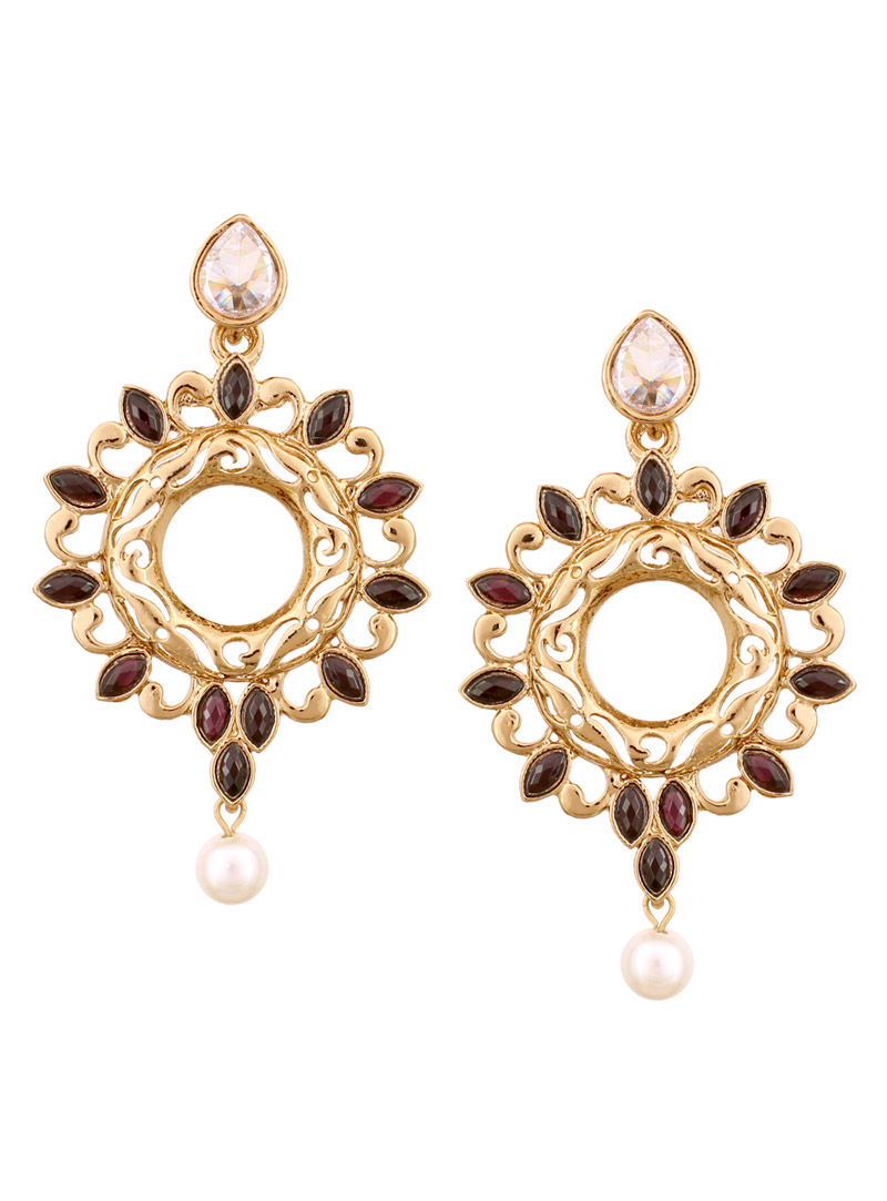 Golden Alloy Kundans Earrings 56957