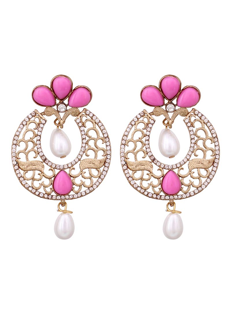 Pink Alloy Austrian Diamonds Earrings 68959