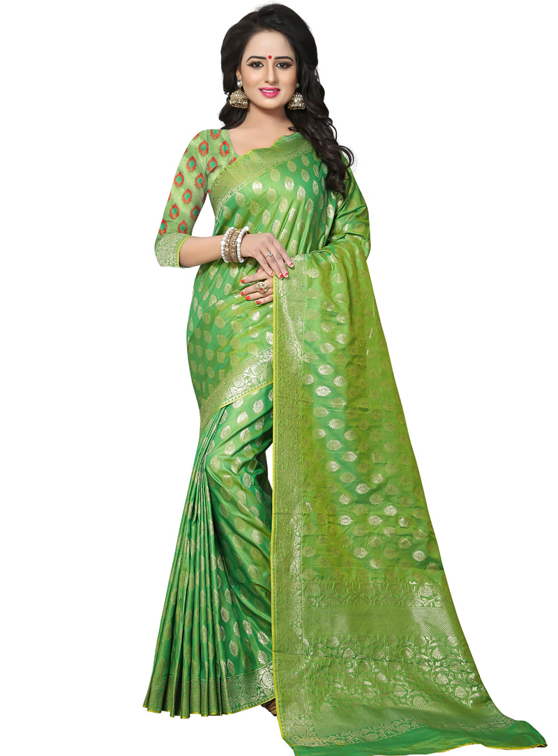 Green Banarasi Silk Saree With Blouse 121051