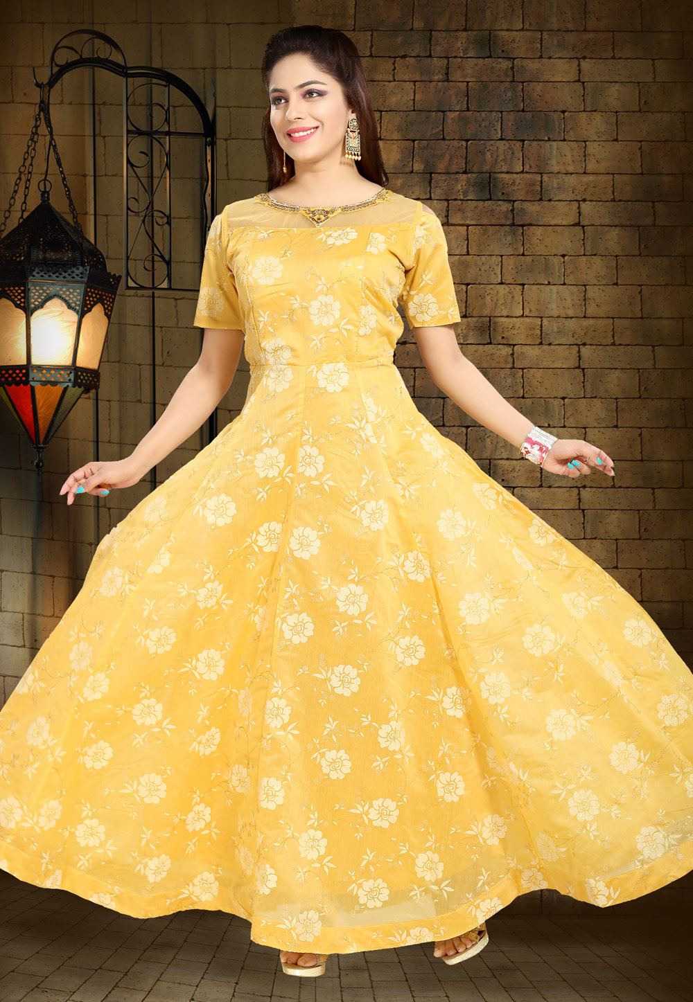 Yellow Chanderi Silk Readymade Gown 194205