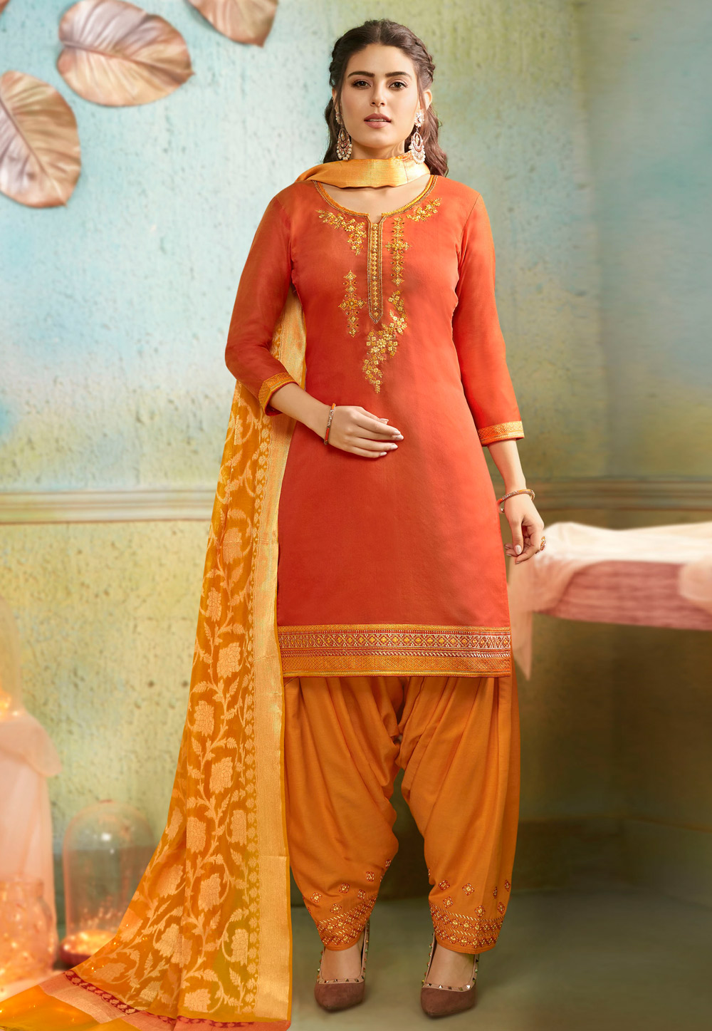Orange Chanderi Patiala Suit 192043