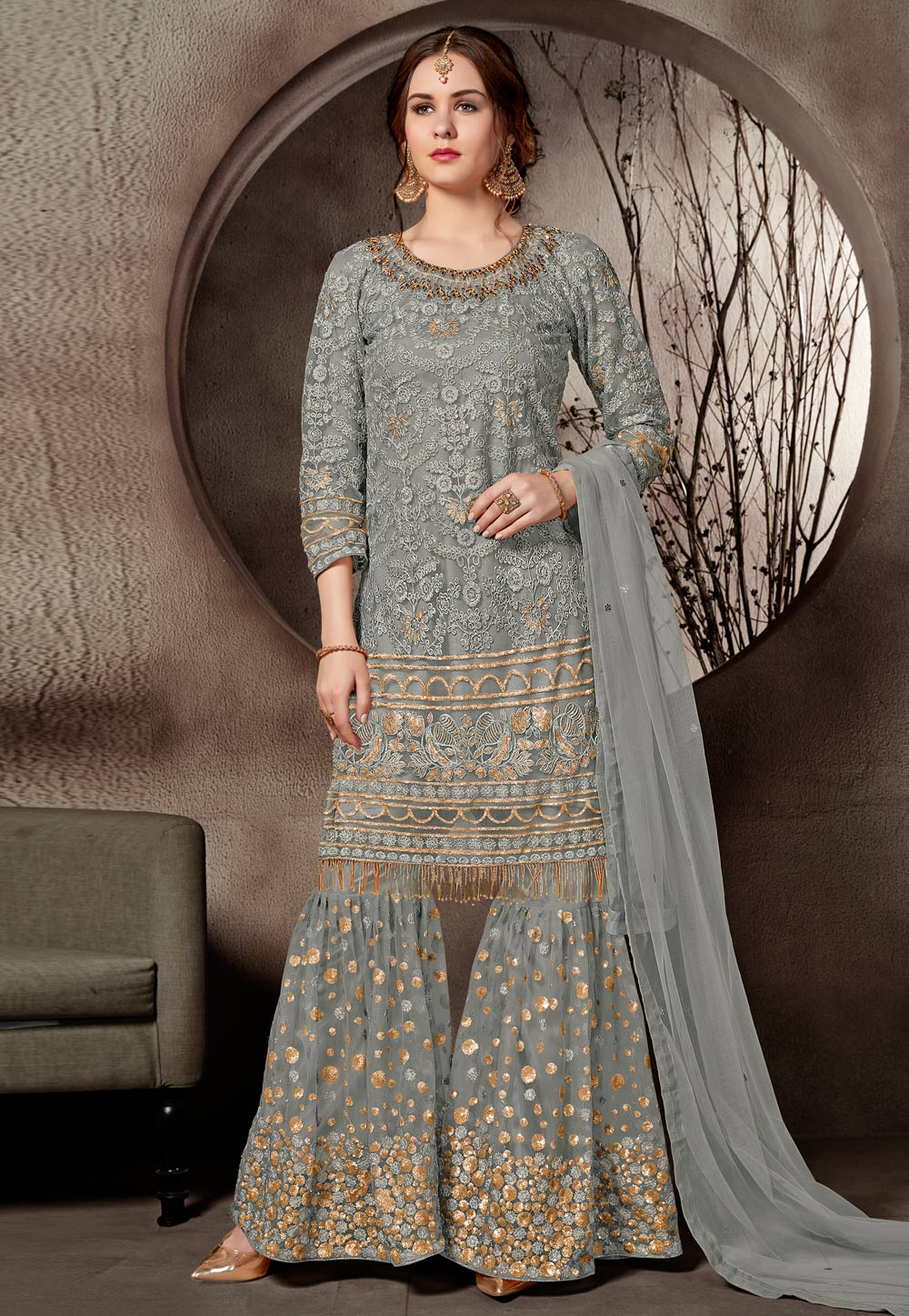 Grey Net Embroidered Sharara Suit 168745