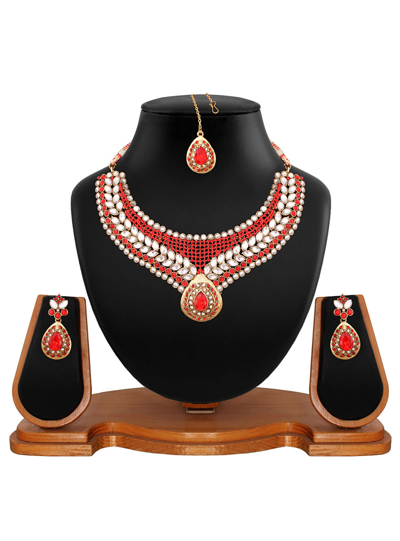 Red Alloy Austrian Diamonds Necklace With Earrings and Maang Tikka 64558