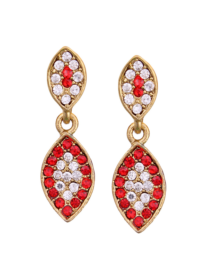 Red Alloy Austrian Diamonds Earrings 64604