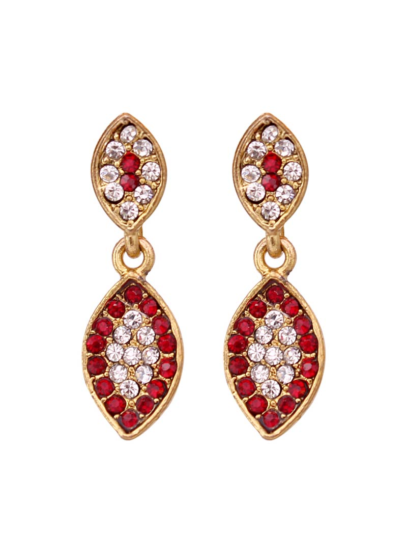 Maroon Alloy Austrian Diamonds Earrings 64606