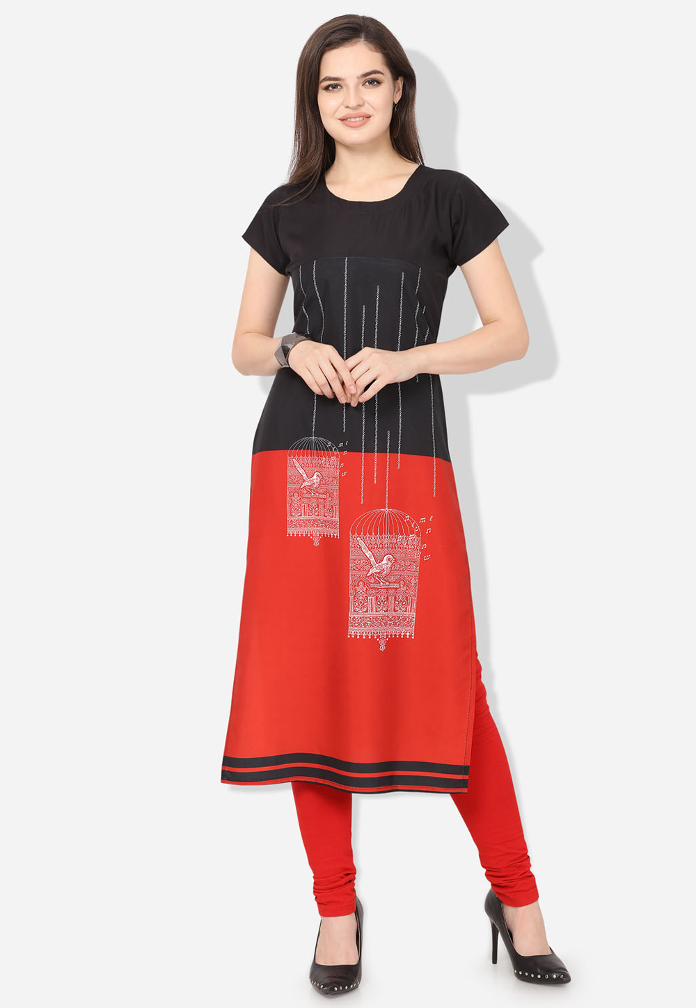 Red Crepe Printed Readymade Tunic 192473