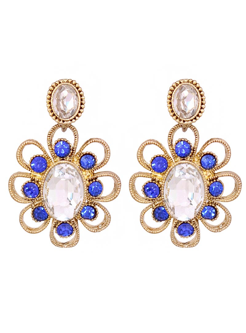 Blue Alloy Austrian Diamonds Earrings 66819