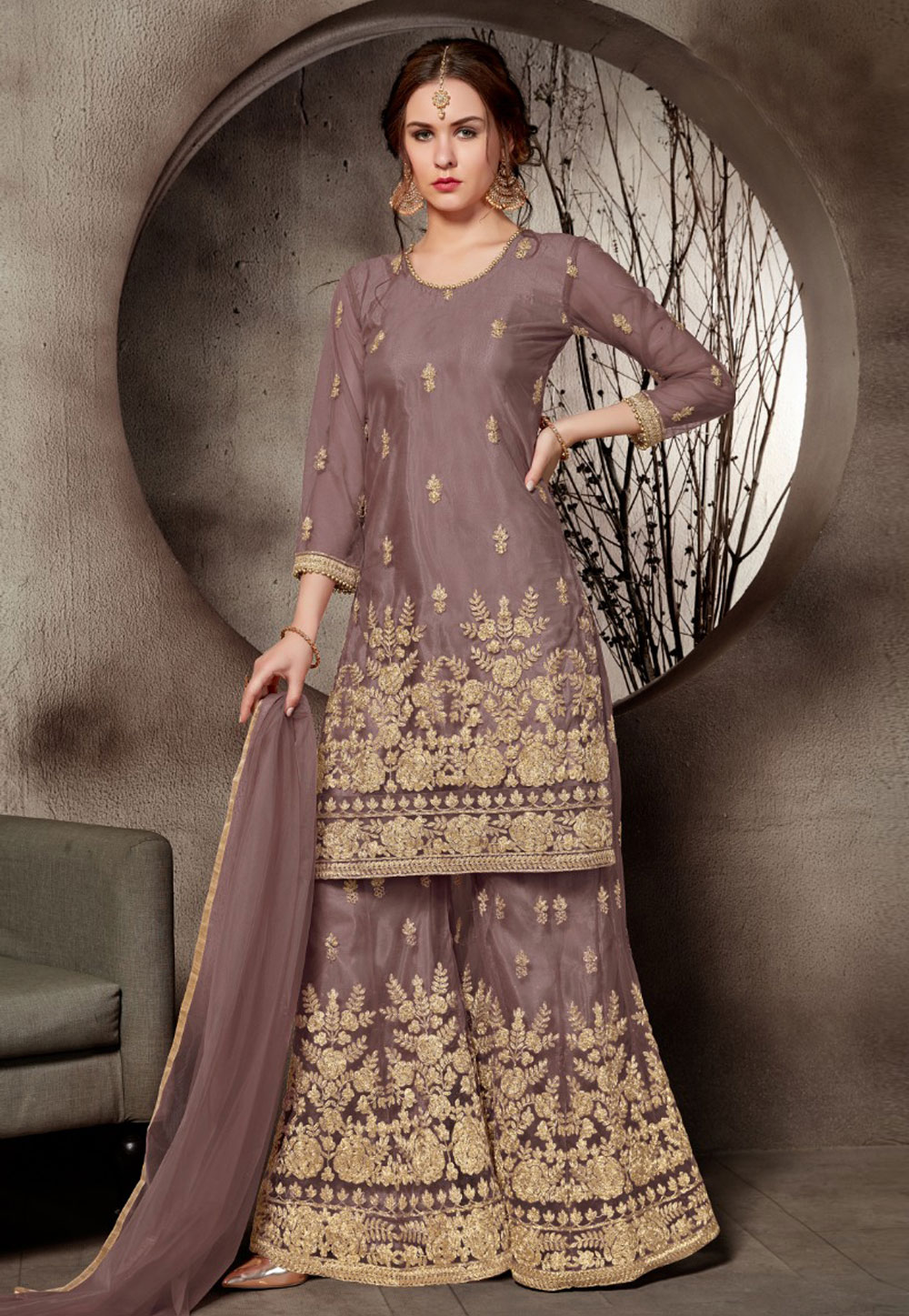 Brown Net Embroidered Sharara Suit 168749