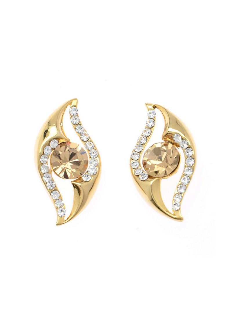 Brown Copper American Diamond Earrings 74041
