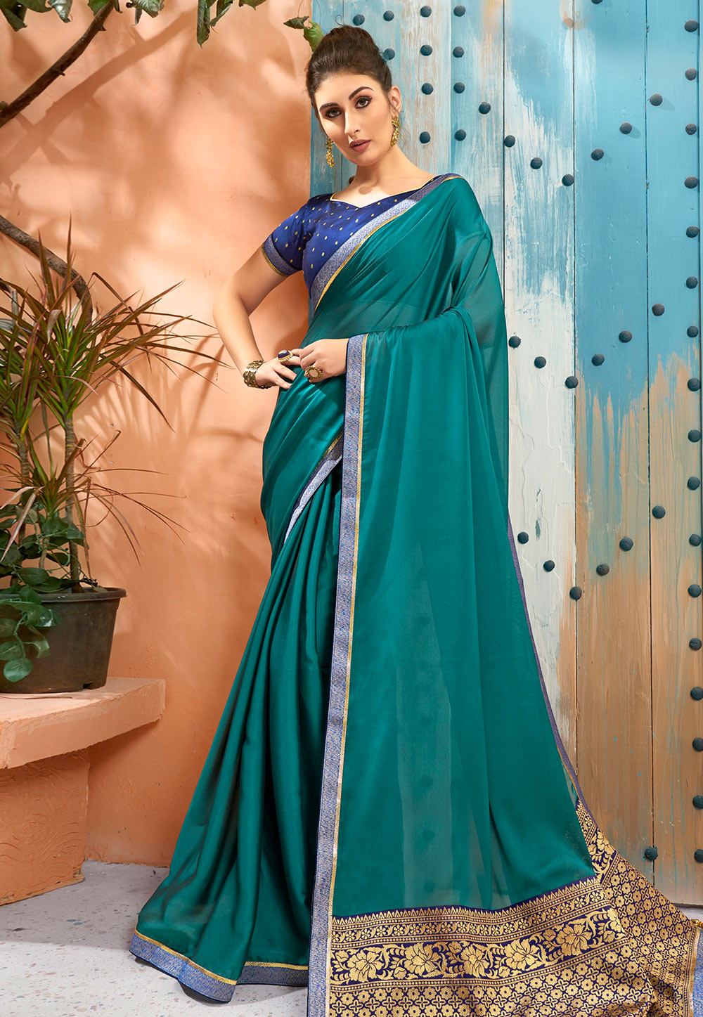 Teal Georgette Saree With Blouse 193796