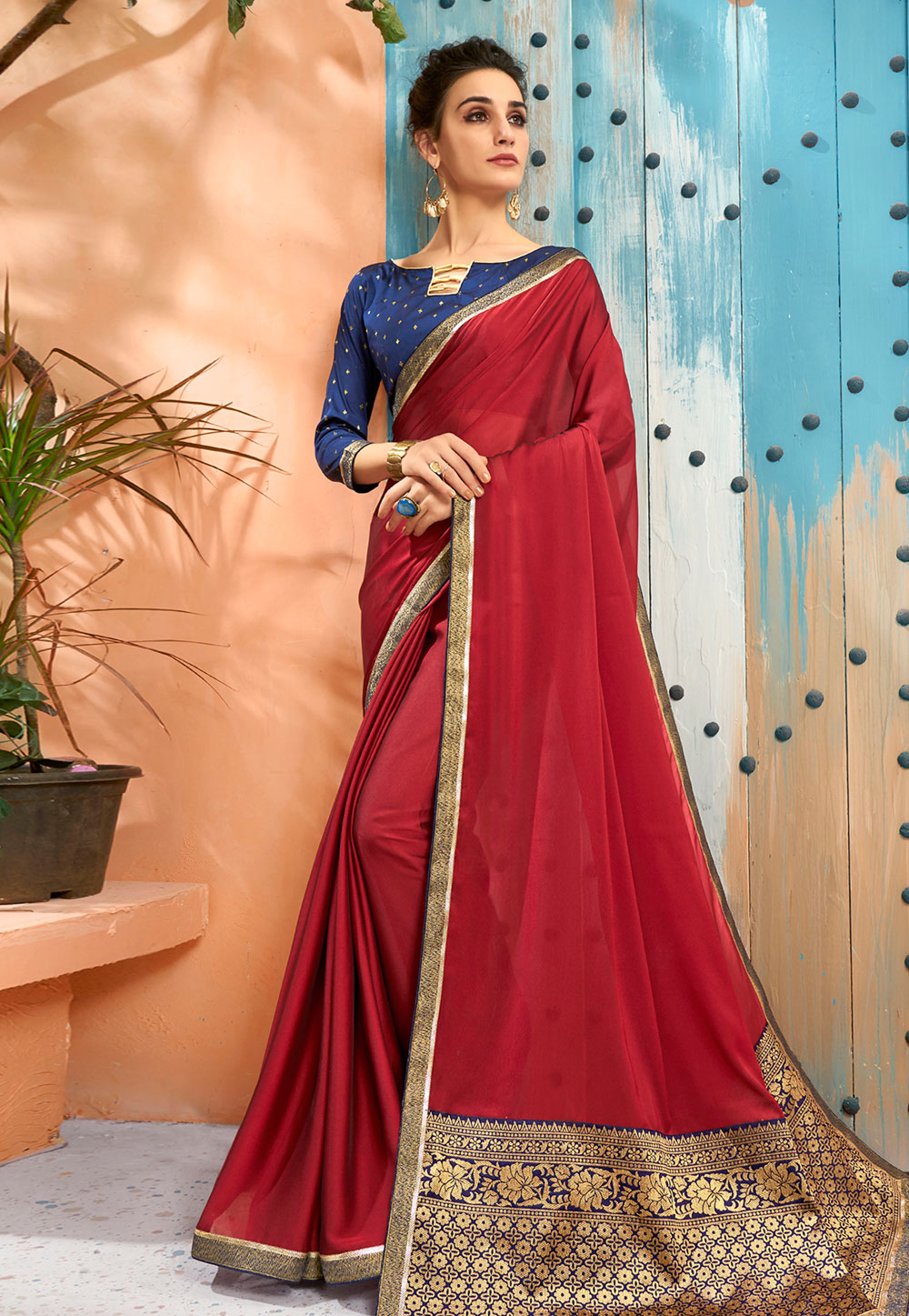 Maroon Georgette Saree With Blouse 193798
