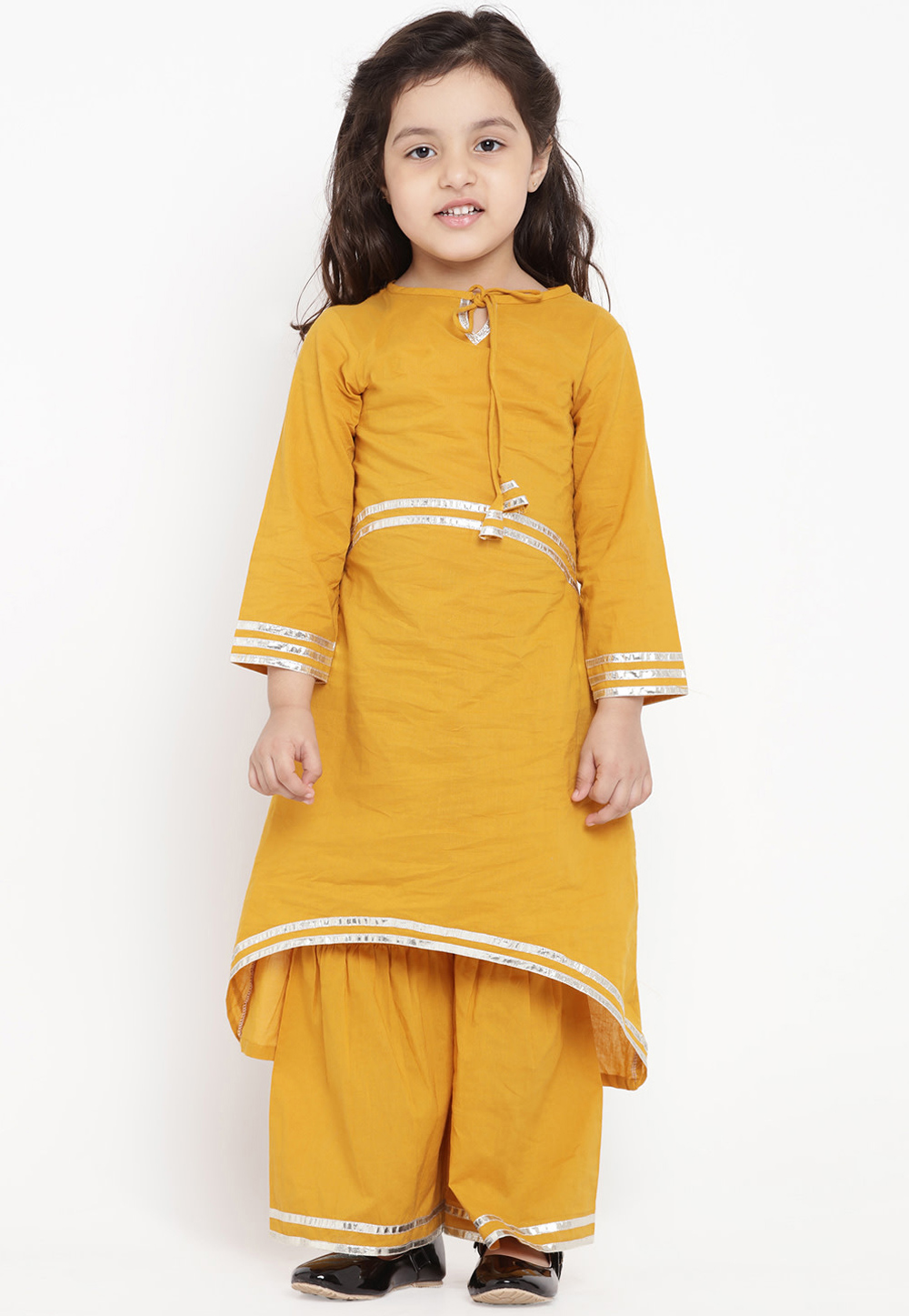 Yellow Cotton Readymade Kids Palazzo Suit 202876