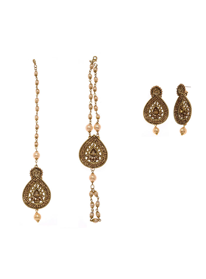 Golden Copper Pearl Bridal Accessories 74058