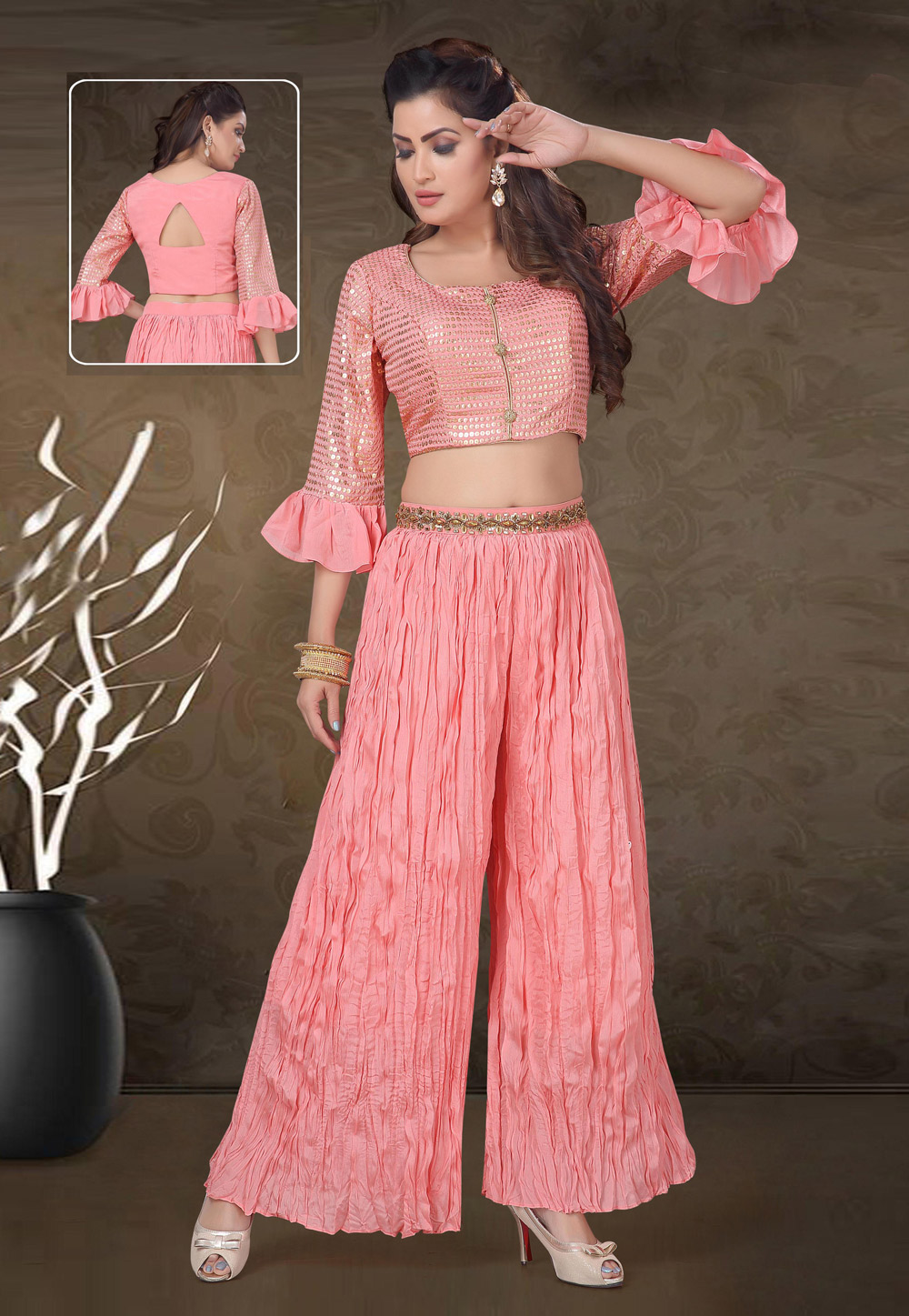 Pink Cambric Cotton Readymade Kameez With Palazzo 193864