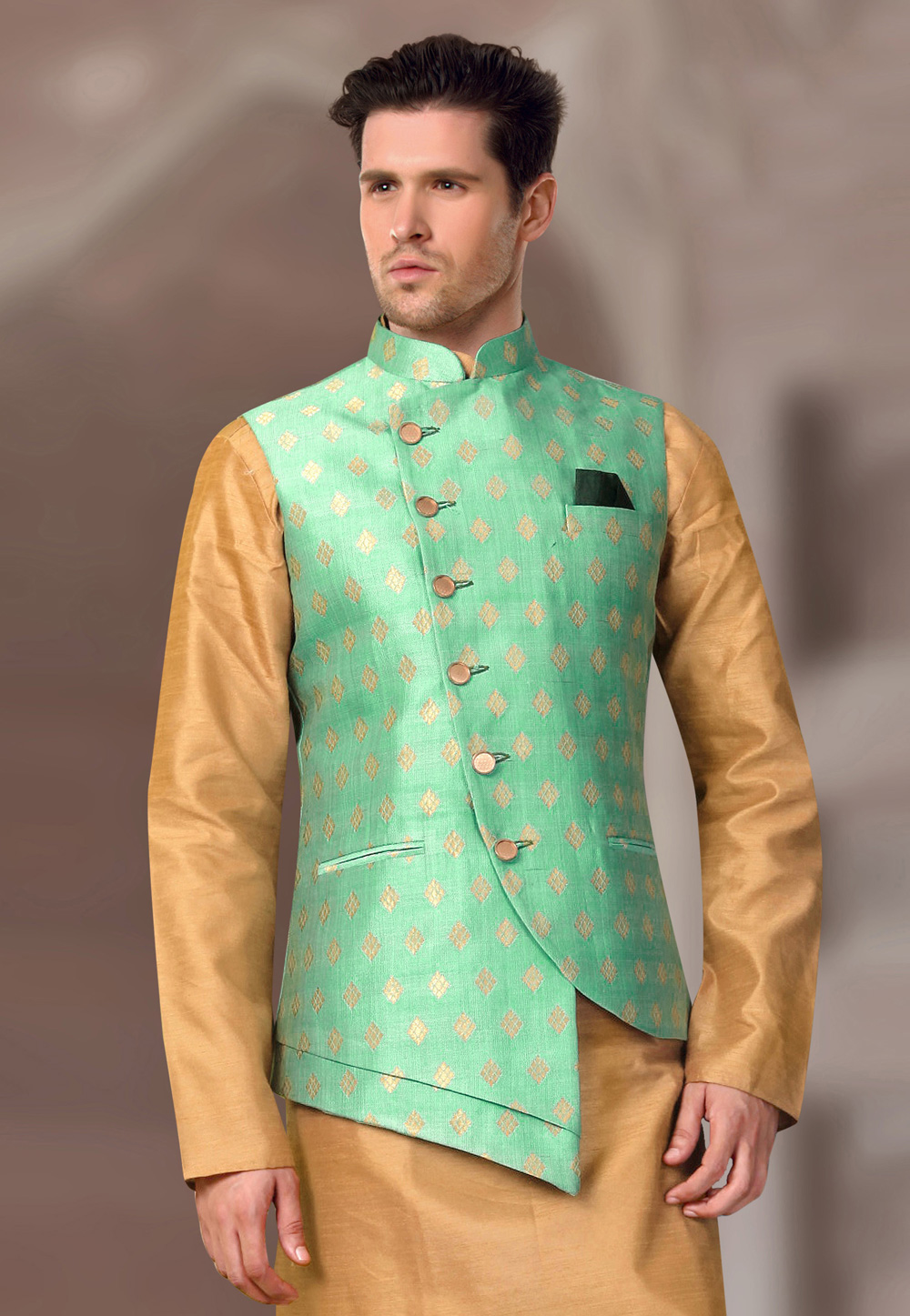 Sea Green Brocade Readymade Nehru Jacket 193803