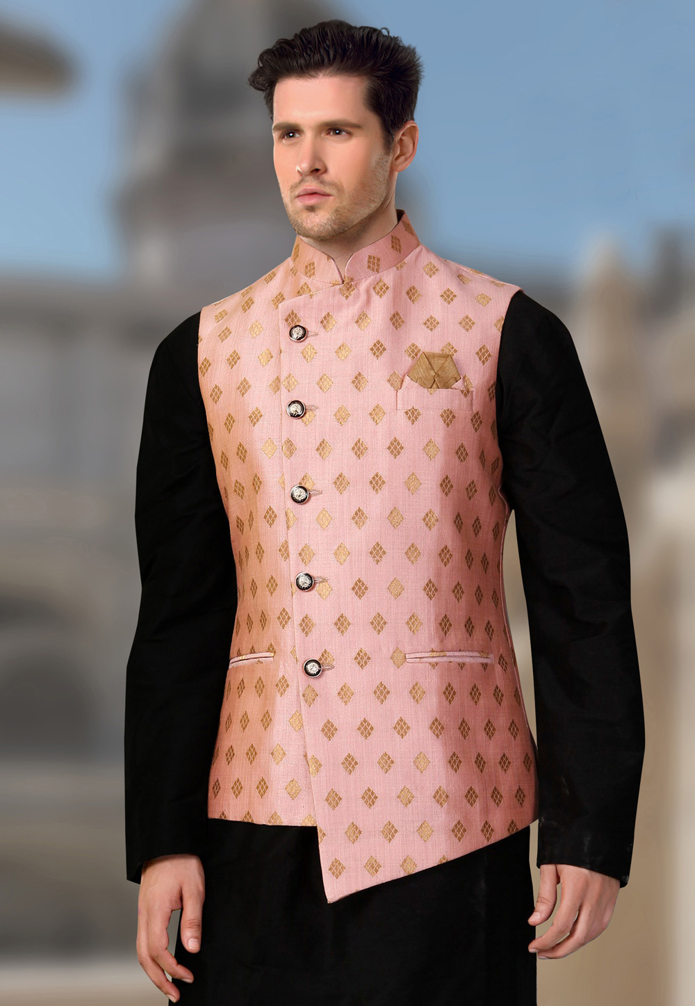Pink Brocade Readymade Nehru Jacket 193807