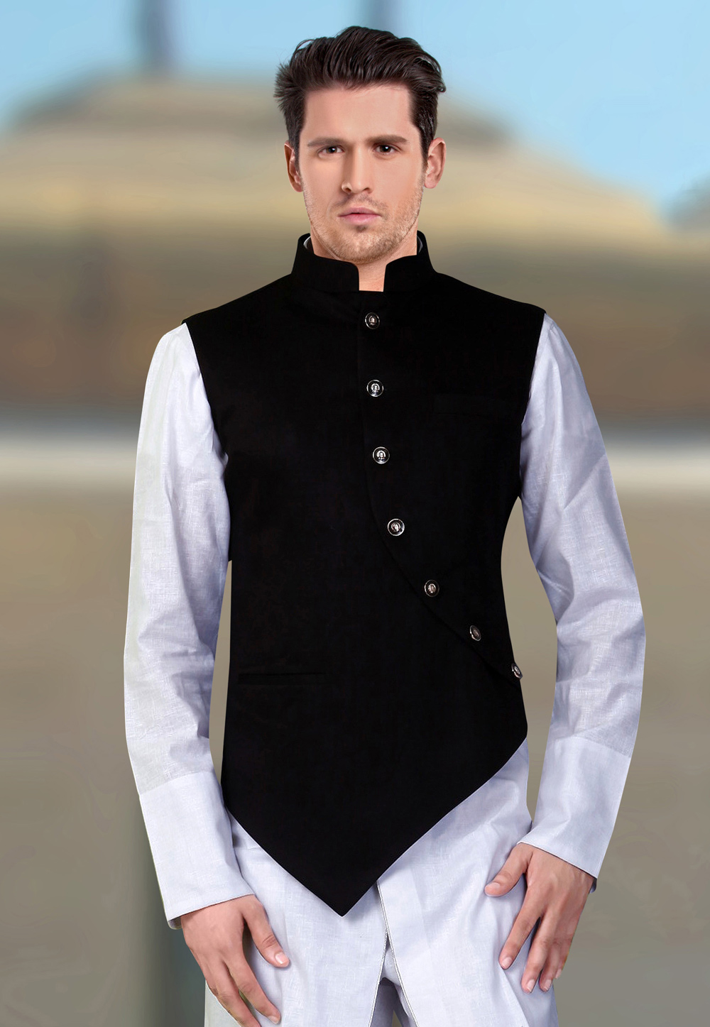 Black Rayon Readymade Nehru Jacket 193812