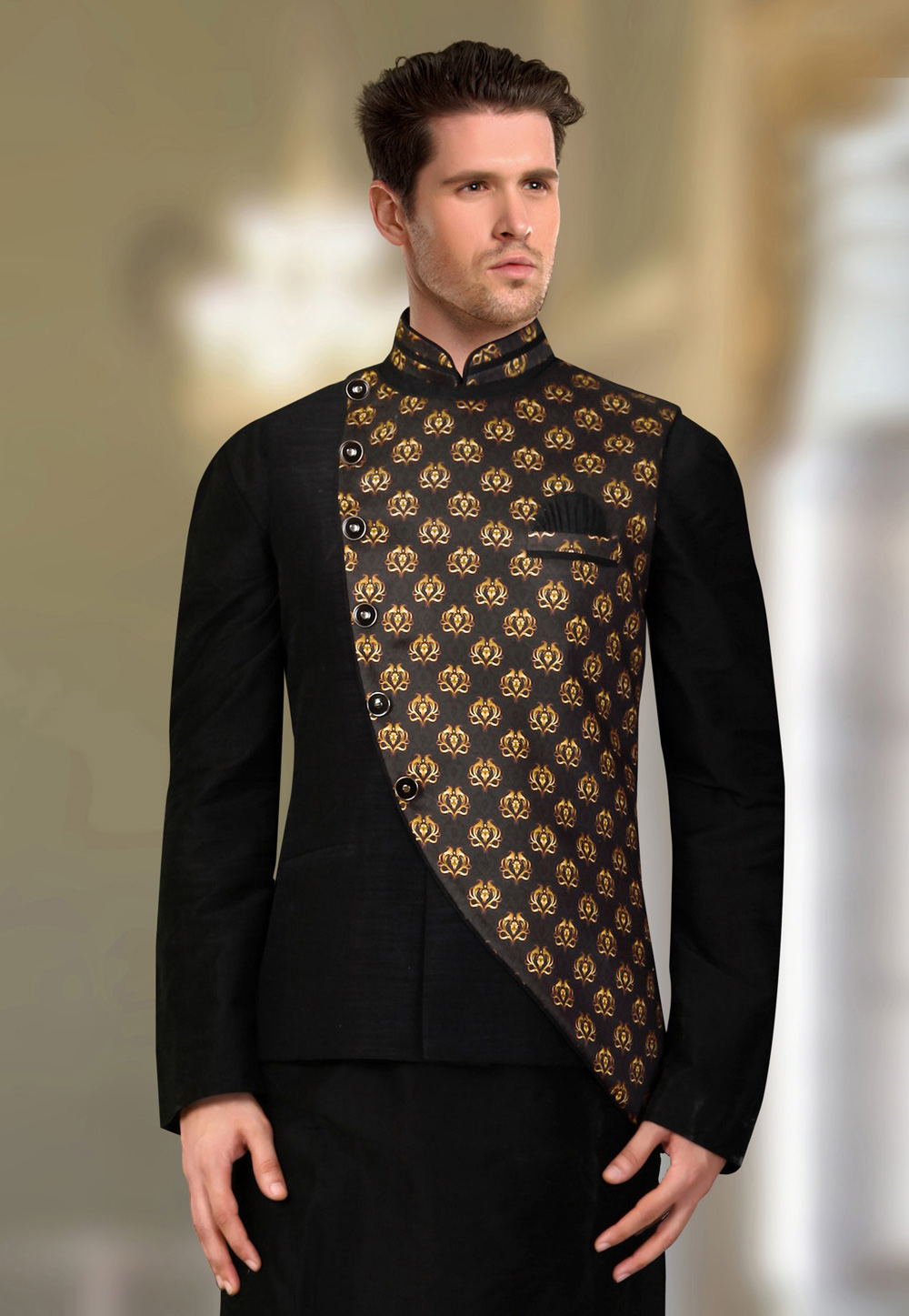 Black Silk Readymade Nehru Jacket 193817