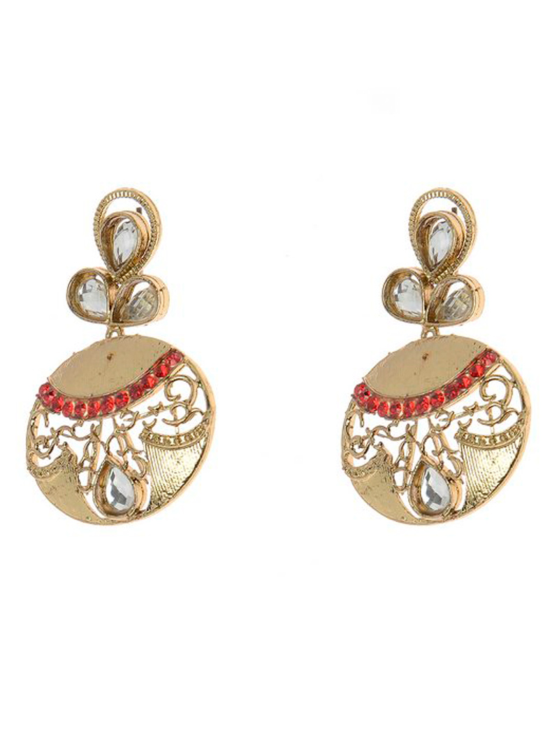 Red Alloy Kundan Earrings 102491