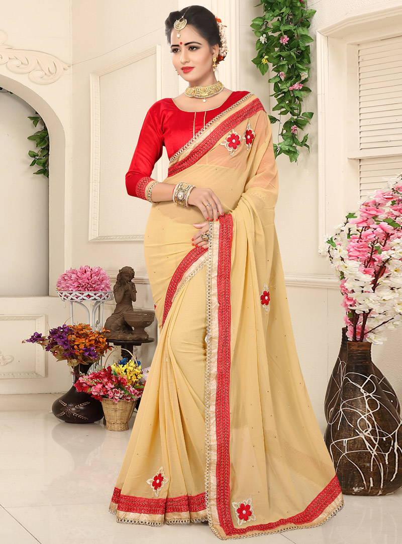 Beige Georgette Festival Wear Saree 104844