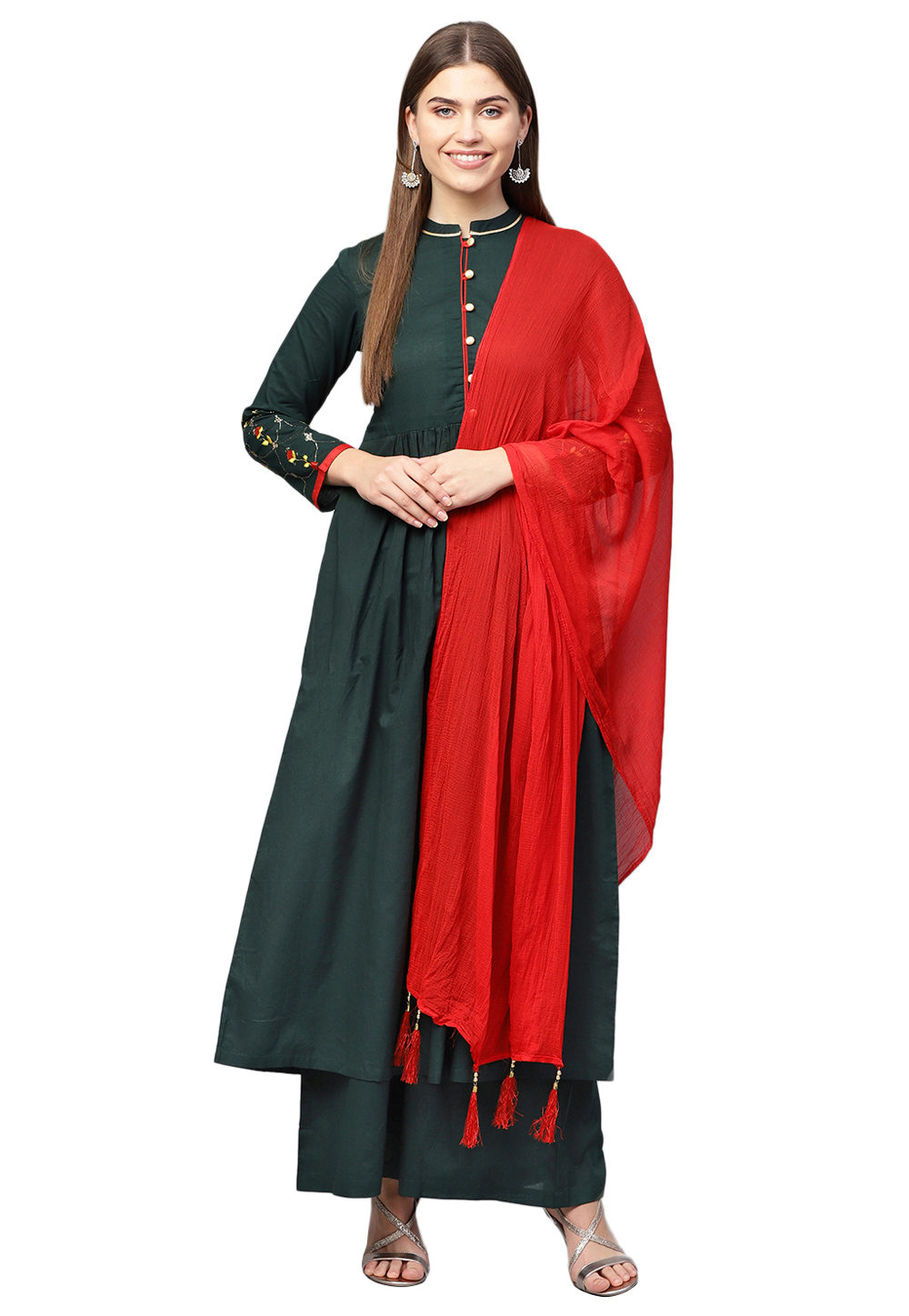 Dark Green Pure Cotton Readymade Kameez With Palazzo 200725