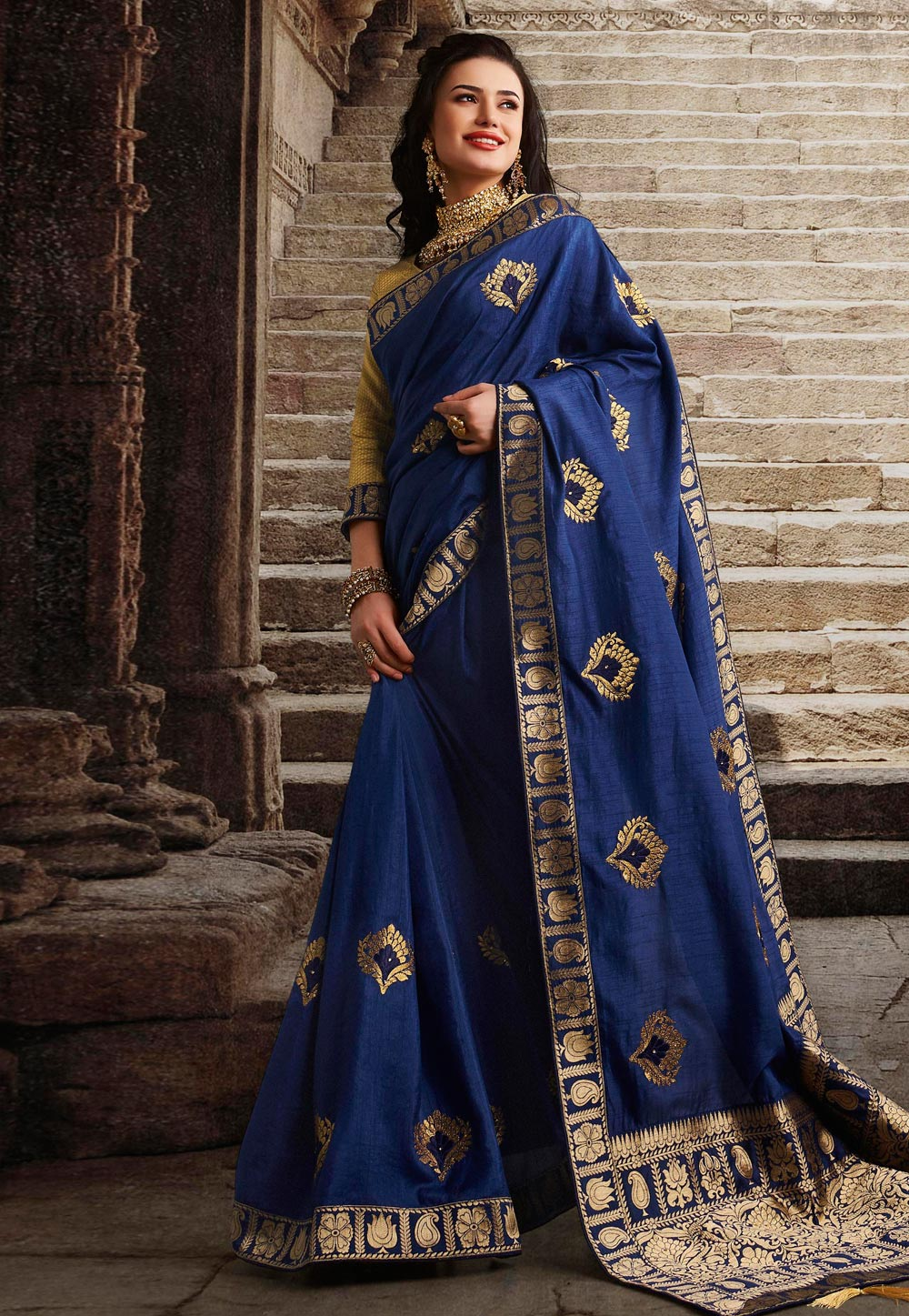 Navy Blue Silk Party Wear Saree 194658