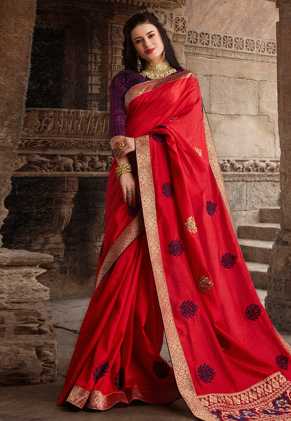 Red Silk Saree With Blouse 194659