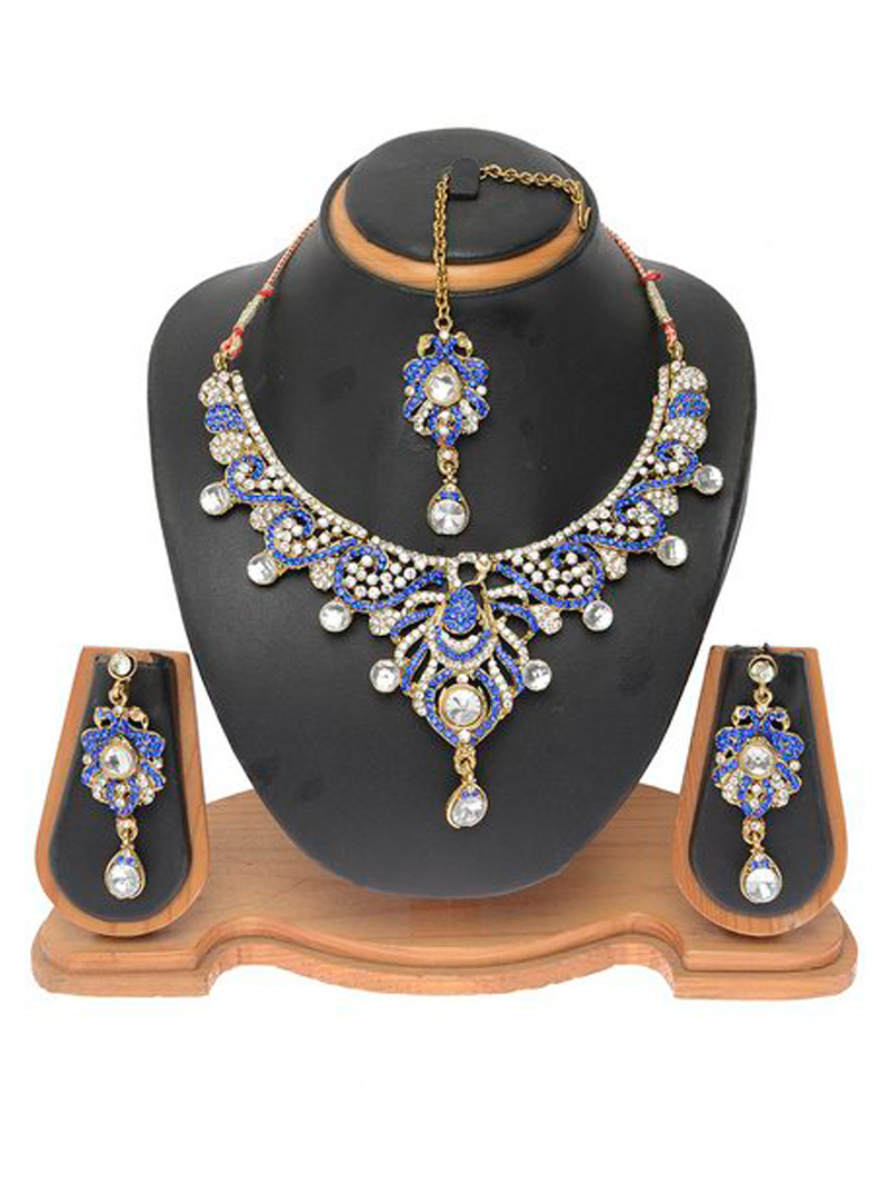 Blue Alloy Austrian Diamond Necklace With Earrings and Maang Tikka 103706