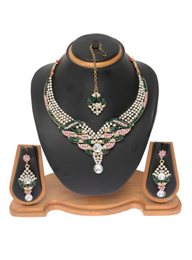 Green Alloy Austrian Diamond Necklace With Earrings and Maang Tikka 103708