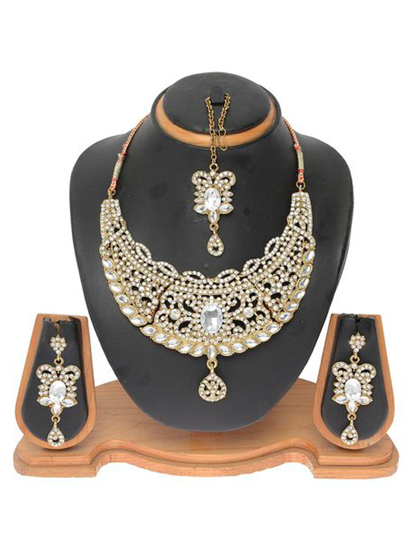 White Alloy Austrian Diamond Necklace With Earrings and Maang Tikka 103709