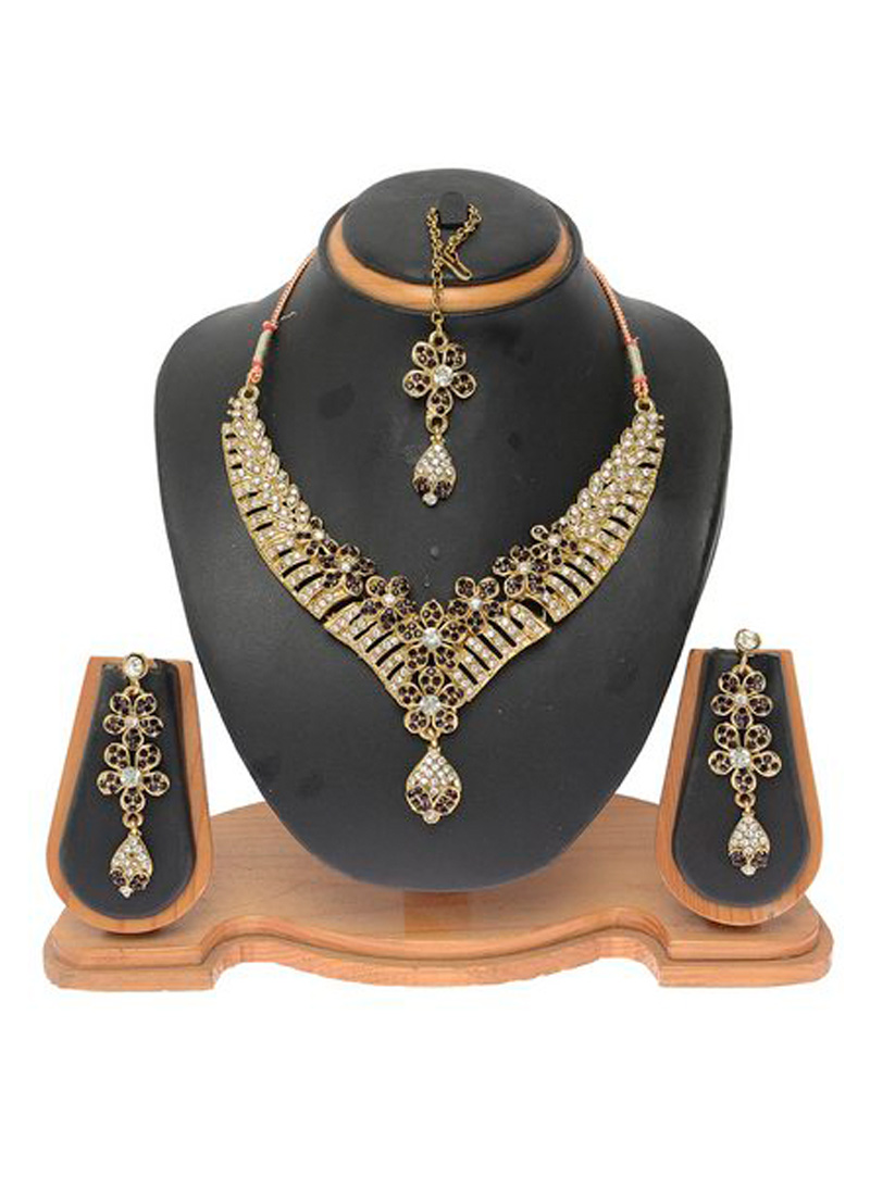 Purple Alloy Austrian Diamond Necklace With Earrings and Maang Tikka 103710