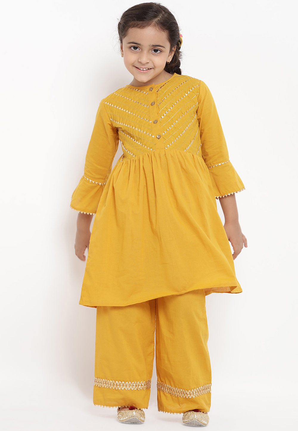 Yellow Cotton Readymade Kids Palazzo Suit 202878