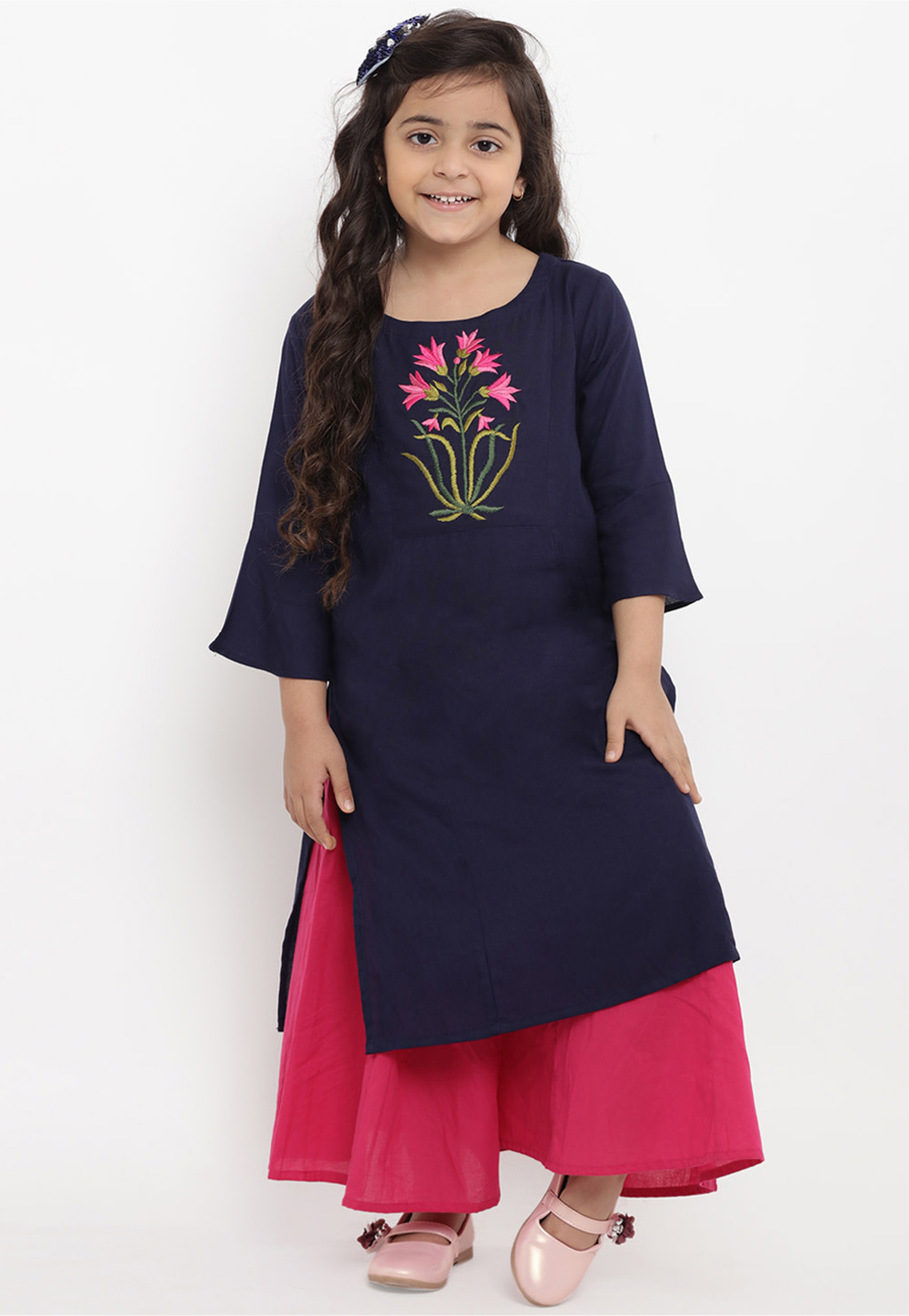 Navy Blue Cotton Readymade Kids Palazzo Suit 202879
