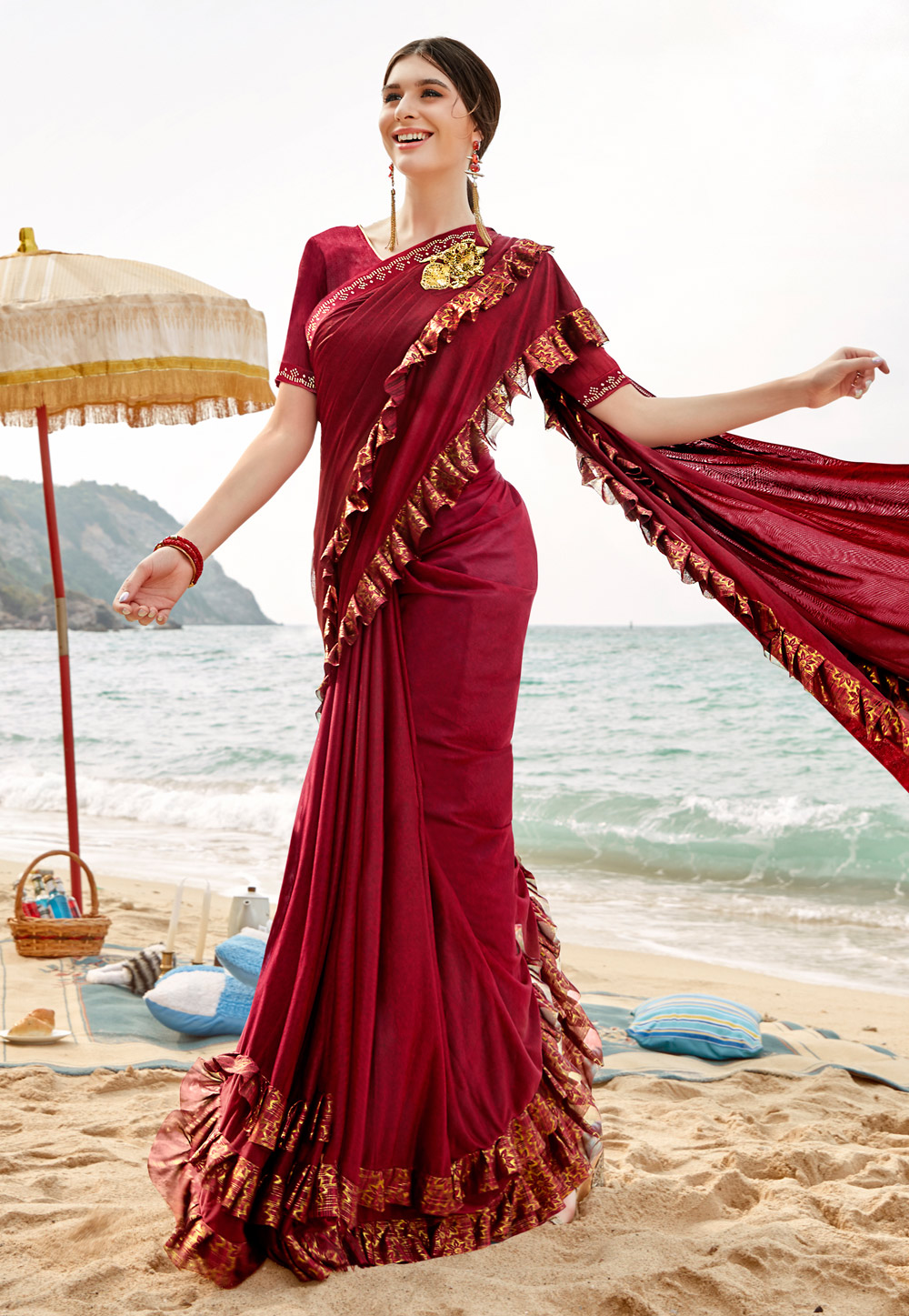 Maroon Lycra  Ruffle Border Saree With Blouse 201733