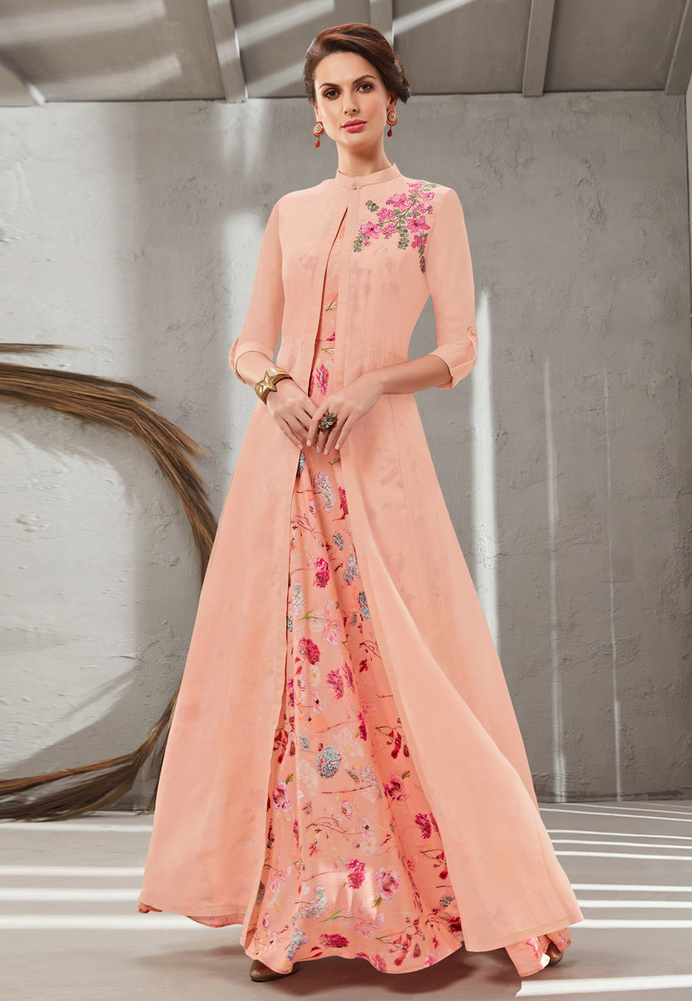 Peach Cotton Silk Readymade Gown With Jacket 199643