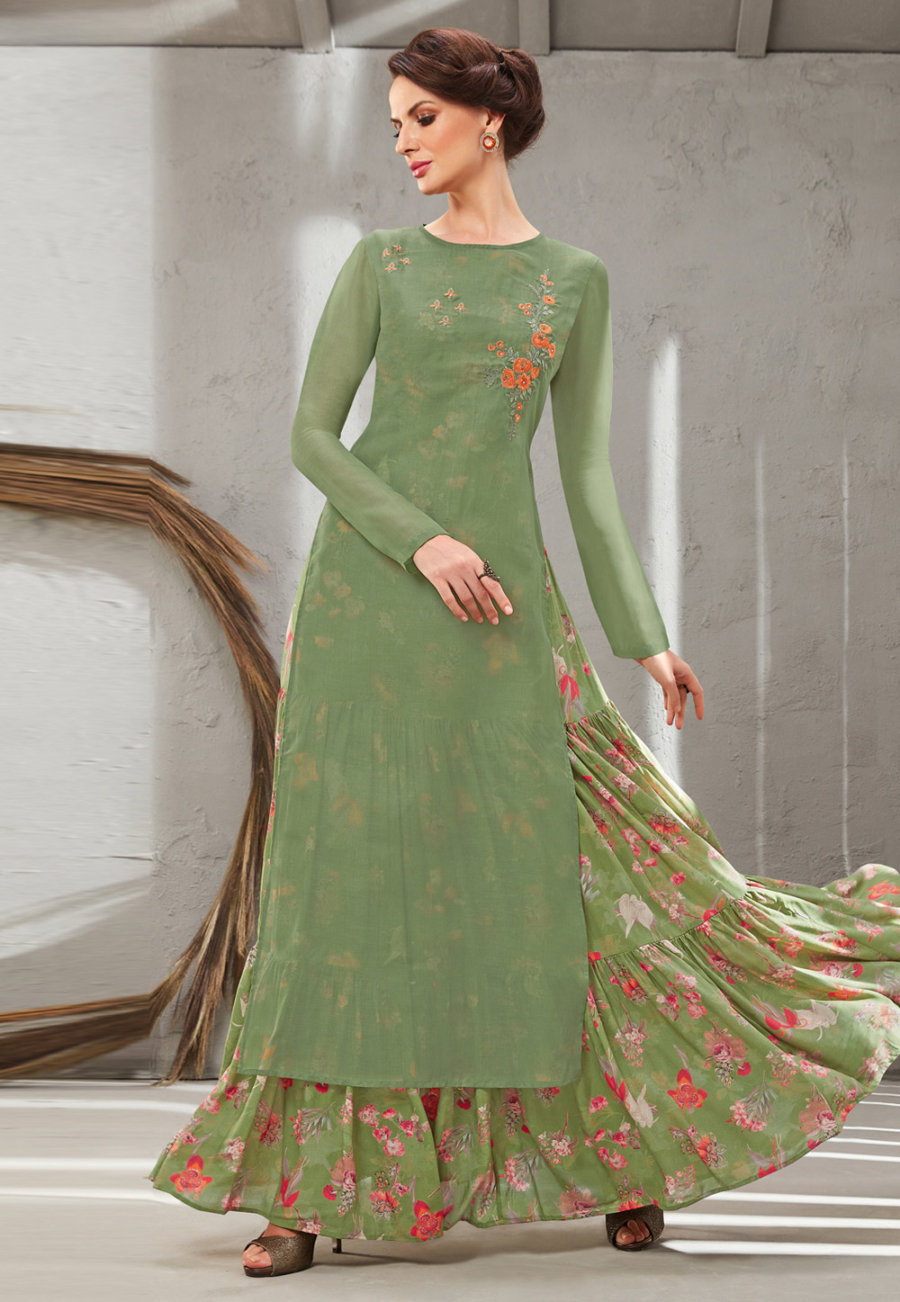 Green Cotton Silk Readymade Gown With Jacket 199648
