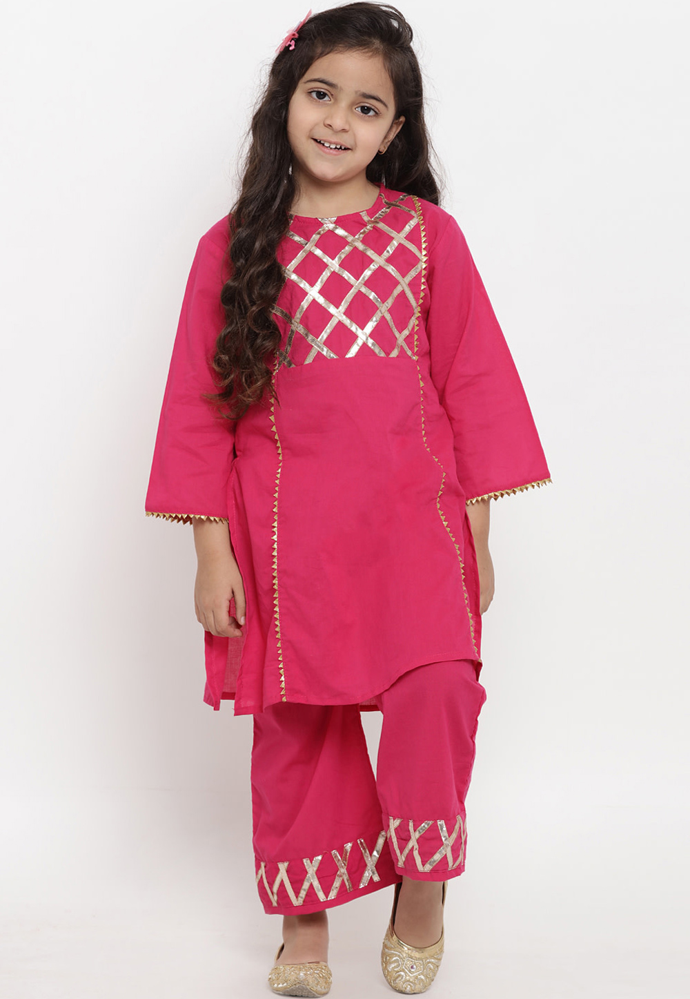 Pink Cotton Readymade Kids Palazzo Suit 202883