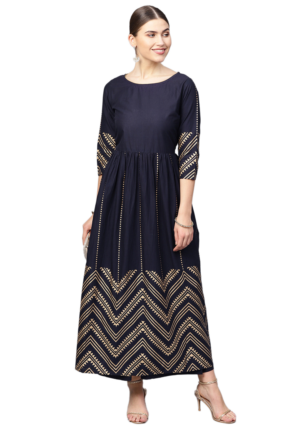 Navy Blue Pure Cotton Readymade Palazzo Suit 200734