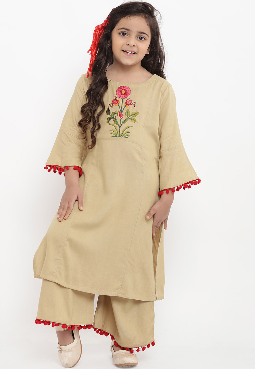 Beige Cotton Readymade Kids Palazzo Suit 202884