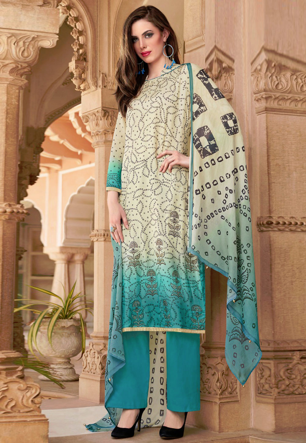 Turquoise Cotton Kameez With Pant 181848