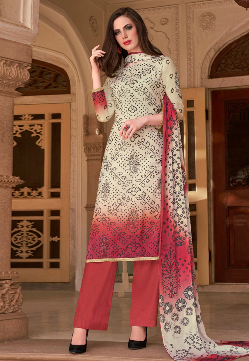 Red Cotton Kameez With Pant 181850
