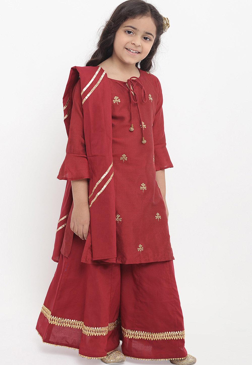Maroon Cotton Readymade Kids Palazzo Suit 202886