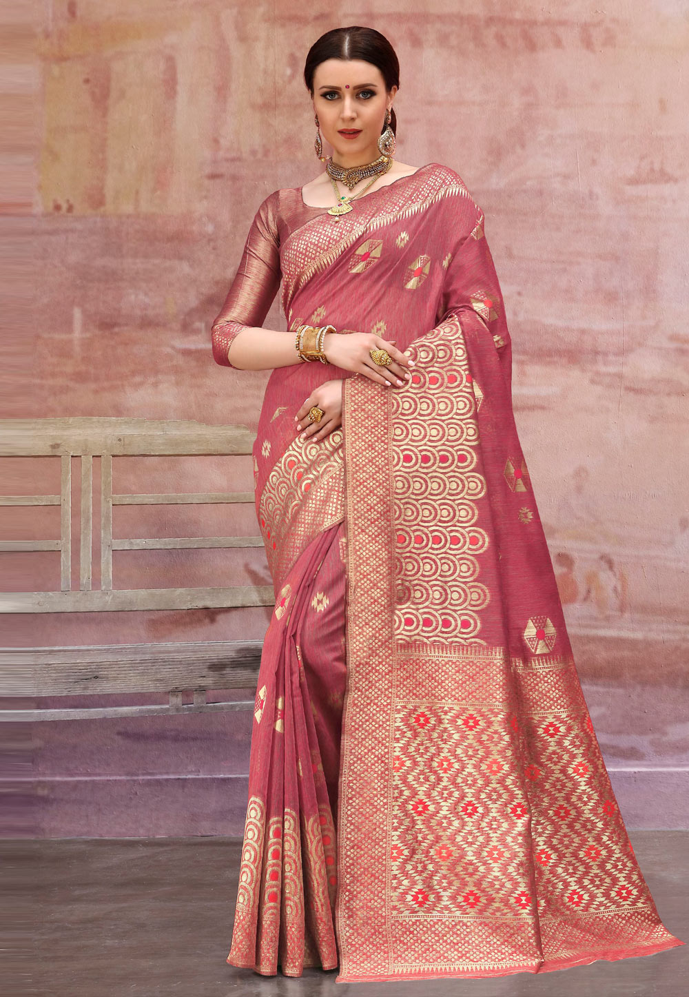 Pink Cotton Saree With Blouse 195949