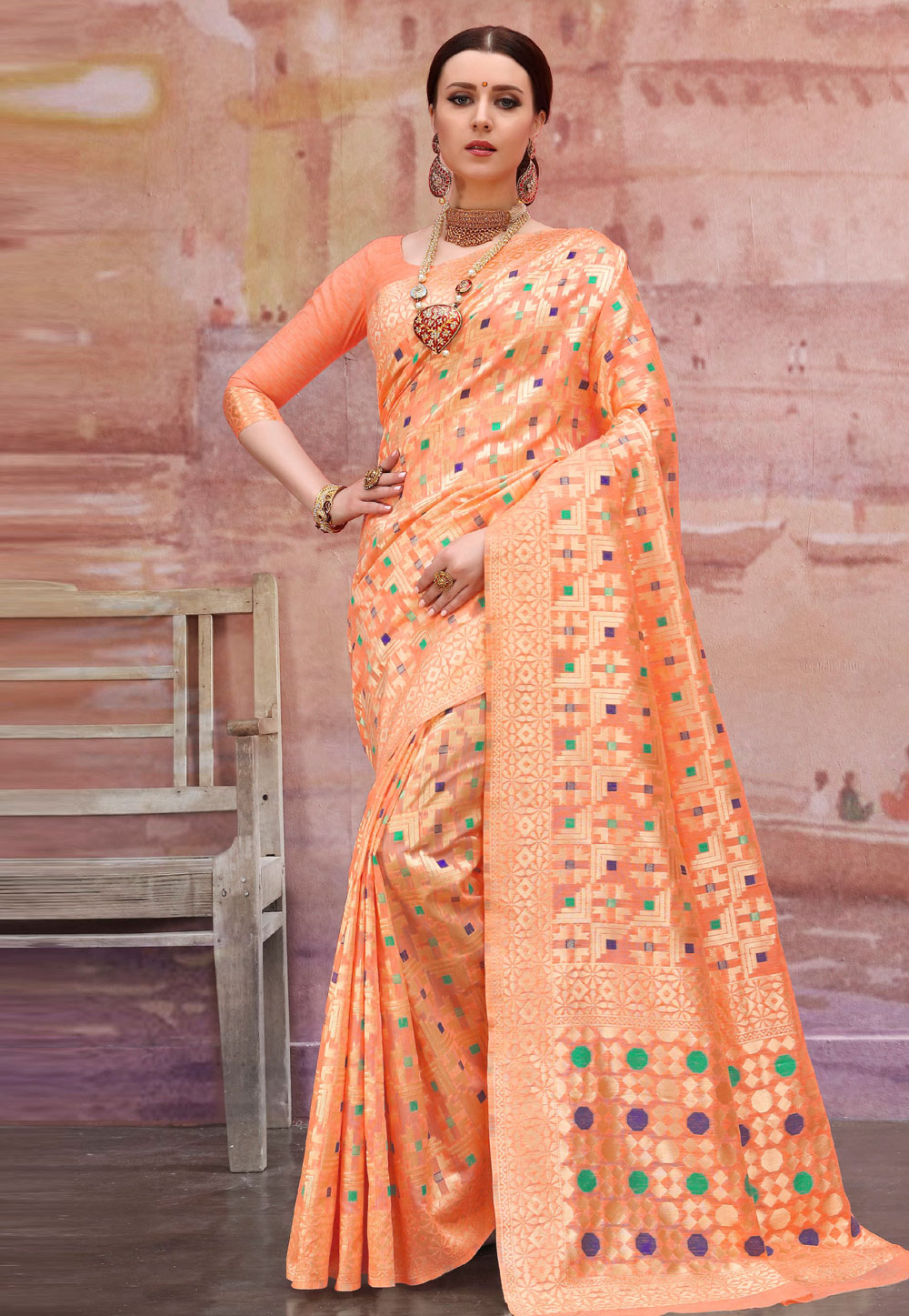 Orange Cotton Saree With Blouse 195951